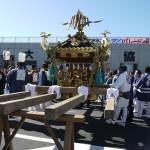 大島椿祭りの江戸みこしを台座に乗っけた