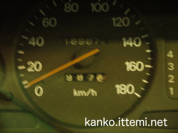 987kmのメーター